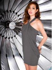Sexy Fashionable Style Mini Dark Gray Cotton Halter Dress
