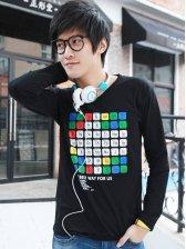 Brand New Men's Square Plaid Design Slim T-shirt Black
