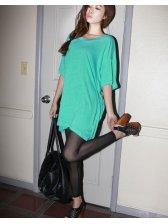 Korea Women Gauze Slim Elastic Leggings Black
