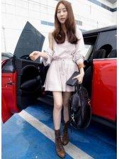 Spring Fashion Lady Long Sleeve Cotton Dress