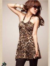 Fashion Hot Sale Leopard Halter Mini Dress