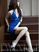 Women Blue Deep V-neck Slim Fit Halter Mini Dress