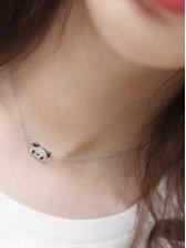 Japan New Lady Little Bear Silver Necklace