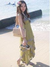 Summer Fashion Lady Layered Chiffon Strap Maxi Dress