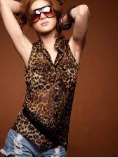 Summer New Style Fashion Leopard Slim Chiffon Blouse