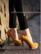 Korea Vogue Suede Round Toe High-heeled Shoes