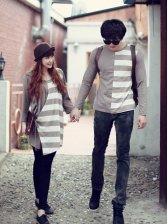 New Korea Cotton Long Sleeve Stripe Couple T-shirts