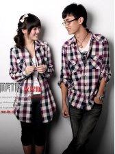 Casual Fashion Long Sleeve Plaid Cotton Couple Shirts