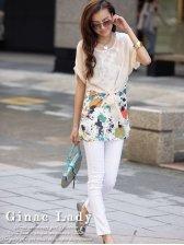 Wholesale Women Beige Chiffon Splicing Short Sleeve Print Dress
