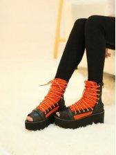 New Fashion Women Peep Toe Belted Short Boot Shoes Orange