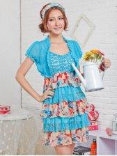 Summer Hot Sale Women Round Neck Layered Empire Waist Chiffon Dress