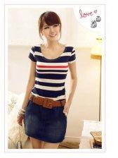 Round Neck Short Sleeve Striped Lady Lovely Dress