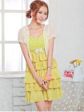 Korea Fashion Empire Waist Women Bowknot Layered Chiffon Dress