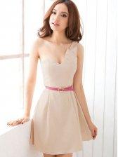 New Summer Deep V-neck One Shoulder Party Mini Dress with Belt