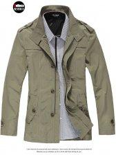 British New Fashion Stand Collar Men Slim Long Trench Coat