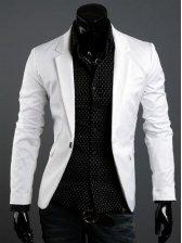 New Men's Stylish Pure Color Lapel Casual Suit