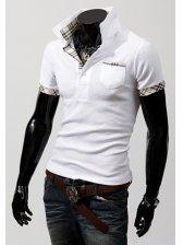 2012 New Stylish Plaid Match Color Men's Short Sleeve Shirt