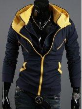 Korea New Arrival Men's Color Block Hoodie Cardigan