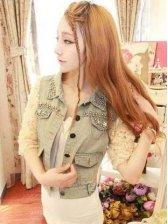 New Korea Fashion Women Lace Splicing Sleeve Denim Short Coat