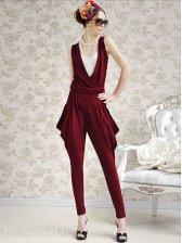 Spring Elegant Hight Collar Layer Drape Women Jumpsuit