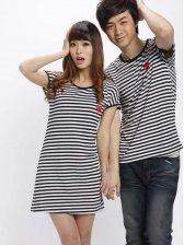 Wholesale Women's Stripes Heart Tank Dress And Men's T-shirt