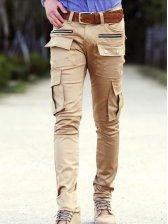 Stylish Men Zipper Straight Leg Long Pants Beige