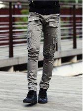Vogue Men Solid Pockets Long Pants Gray