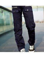 Fashion New Men Zipper Casual Long Pants Navy Blue