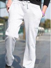 Korea Men Drawstring Waist Sports Long Pants Gray
