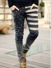 Vogue New Summer Men Star Print Denim Long Pants