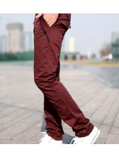 Vogue New Men Buttons Long Pants Wine Red