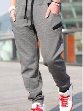 New Fashion Men Drawstring Waist Long Pants Dark Gray