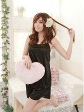 Summer Fashionable Women Backless Straps Pajamas Black