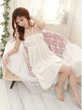 Lovely Cute Women Tube Silk Night Skirt in White