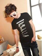Wholesale Summer Men Fashion Personality Guns Printing Cotton Short T-shirt