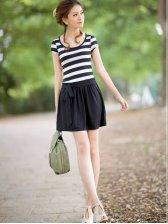 Wholesale Fashion Women Round Neck Color Block Stripe Dress