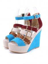 New Suede Lady Roman Peep Toe Wedge Sandal