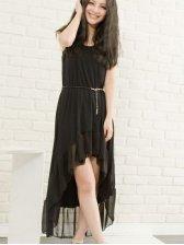 New Fashion Asymmetrical Hem Sleeveless Belt Dress