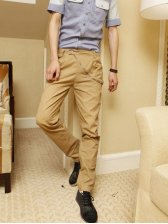 Men's Fashionable Dots Purfle Long Pants In Khaki