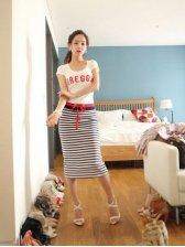 Wholesale Women Fashion Sunshine Printing Stripes Two Pieces