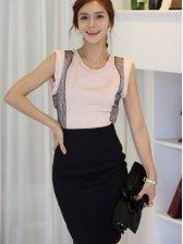 Korea New Fashion Pure Color A-line Mid-length Skirt Black