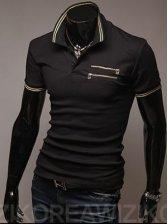 New Modern Men Turn Collar Double Zipper Pocket Short Sleeve Tee