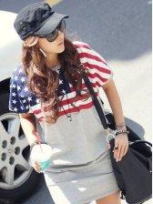 2012 New America Flag Women's Casual Short Sleeve Dress