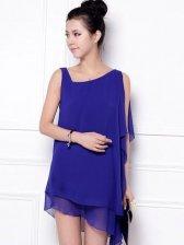 New Arrival Women Oblique Shoulder Chiffon Dress 3 Color