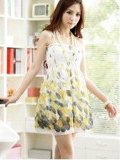 Arrival Women Korea New Fashion Boat Neckline Printing Chiffon Dress