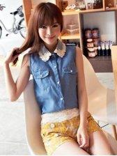 2012 Ladies Hot Sale Fashion Sleeveless Lace Collar Blouse