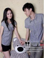 Couples Summer Fashion Short Sleeve Color Block Plaid Shirt
