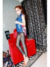 New Women Sexy Grenadine Block Slim Leggings Silvery