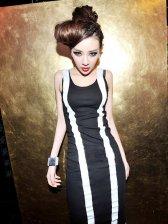 2012 Hot Fashion Lady Slim Fit Color Block Long Dress