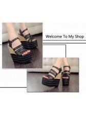 Hot Sale Europe Stylish Stripes Plate Form Sandals Black